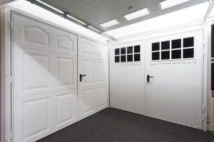 white panelled garage door and white glazed garage door