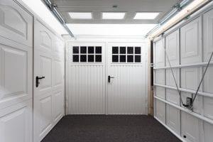 white panelled garage doors and white glazed garage door