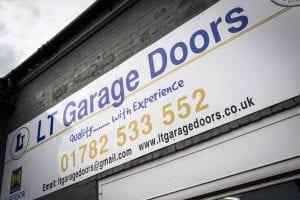 close up of lt garage doors sign