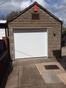 white electric roller garage door