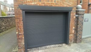 grey electric roller garage door