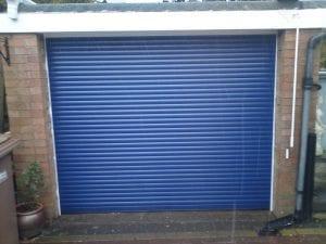 blue electric roller garage door