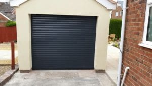 blue electric roller garage door