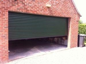 green double electric roller garage door