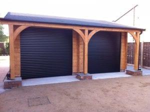 black electric roller garage doors