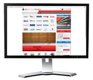 pc monitor with screenshot of glt garage doors