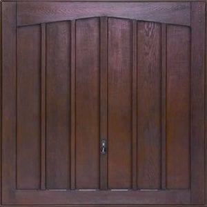 GRP Up and Overs garage door in a dark wood colour.