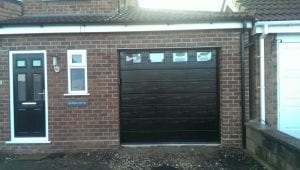 black sectional garage door