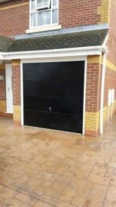 black up and over garage door